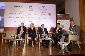 PANEL  I:  Leadership panel: Η «μεγάλη εικόνα» της ασφαλιστικής αγοράς. Συμμετείχαν οι ομιλητές (με σειρά από αριστερά προς δεξιά): Αλέξανδρος Σαρρηγεωργίου, Πρόεδρος & Διευθύνων Σύμβουλος, Eurolife ERB Ασφαλιστική,  Νάντια Σταυρογιάννη, Διευθύνουσα Σύμβουλος & Αντιπρόεδρος Δ.Σ., D.A.S. Hellas, Ερρίκος Μοάτσος, Διευθύνων Σύμβουλος, ΑΧΑ Ασφαλιστική,  Ιωάννης Καντώρος, Διευθύνων Σύμβουλος, Όμιλος INTERAMERICAN. Συντονιστής: Κωνσταντίνος Ουζούνης, Γενικός Διευθυντής, Ethos Media S.A.
