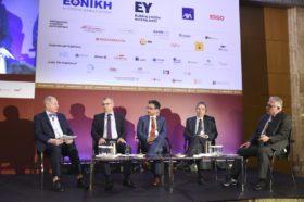 Panel 1: «Οι Προοπτικές Ανάπτυξης της Ασφαλιστικής Αγοράς» Στο πάνελ συμμετείχαν οι ομιλητές (από αριστερά): Χρήστος Γεωργακόπουλος, Ιδρυτής και Διευθύνων Σύμβουλος, Α.Ε.Γ.Α. Ευρωπαϊκή Πίστη, Ηρακλής Δασκαλόπουλος, Αναπληρωτής Γενικός Διευθυντής, Εθνική Ασφαλιστική, Ιωάννης Καντώρος, Διευθύνων Σύμβουλος, Όμιλος INTERAMERICAN, Κυριάκος Αποστολίδης, Γενικός Διευθυντής, MetLife Ελλάδος και Κύπρου. Συντονιστής του πάνελ: Χρήστος Κώνστας, Δημοσιογράφος, Head of Content, Ethos Media S.A.